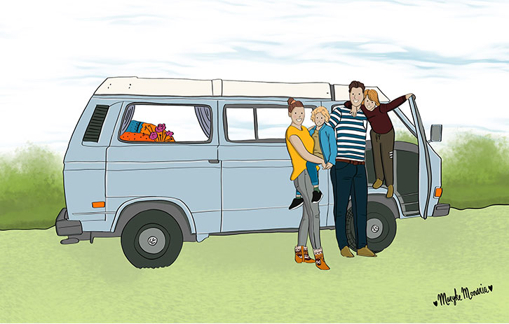 Getekend Familieportret camper